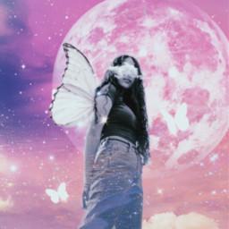 women galaxy moon sky clouds freetoedit