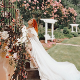 girl aesthetic aestheticgirl pink jardin patio flores plantas flower bellathorne dress vestido outfit tela escalera hair peinado makeup bella day light dia freetoedit