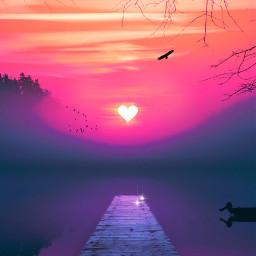 love madewithlove madewithpicsart picsart heypicsart makeawesome myedit myart heart sunset nature sky earth universe birds shine sparkles unsplash freetoedit
