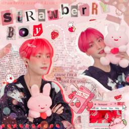 10velyjohn1st ateez atiny kpop seonghwa parkseonghwa seonghwaateez ateezseonghwa pink vintage strawberry cute soft collage red messy messyedit