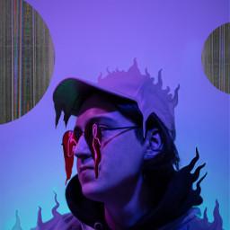 surreal melting glasses hat man purple interesting madewithpicsart freetoedit