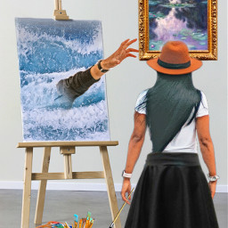 reachinghandsimageremixchallenge thedrowning painting femaleartist art handreachingout ocean water paintbrushes easel canvas ircreachinghands freetoedit