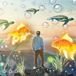 nobbscreative surreal surrealism surrealart surrealisticworld surrealist turtles goldfish bubbles vista view landscape man magic magicalworld myimagination imagi imagination dream dreams alternateuniverse maybeoneday freetoedit unsplash srcgoldenfish goldenfish