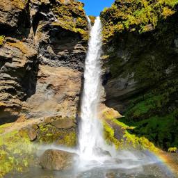 waterfall rainbow landscape myphotography islanda uno freetoedit