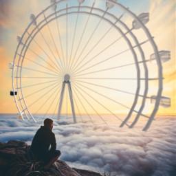 topview ferriswheel sunset surrealart surrealism freetoedit