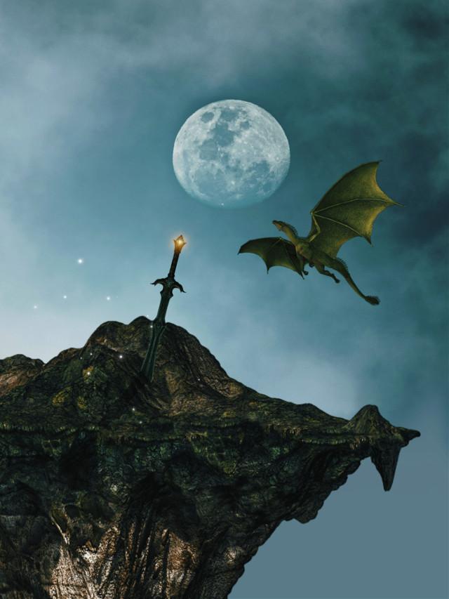 #myedit #madewithpicsart #surreal #moon #magical #dragon #mystical #sword #fantasy #picsarteffects #fittool #stickeroverlay #apr2effect #sparklesbrush