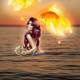 sirena mermaid edit sea mar freetoedit srcgoldenfish goldenfish