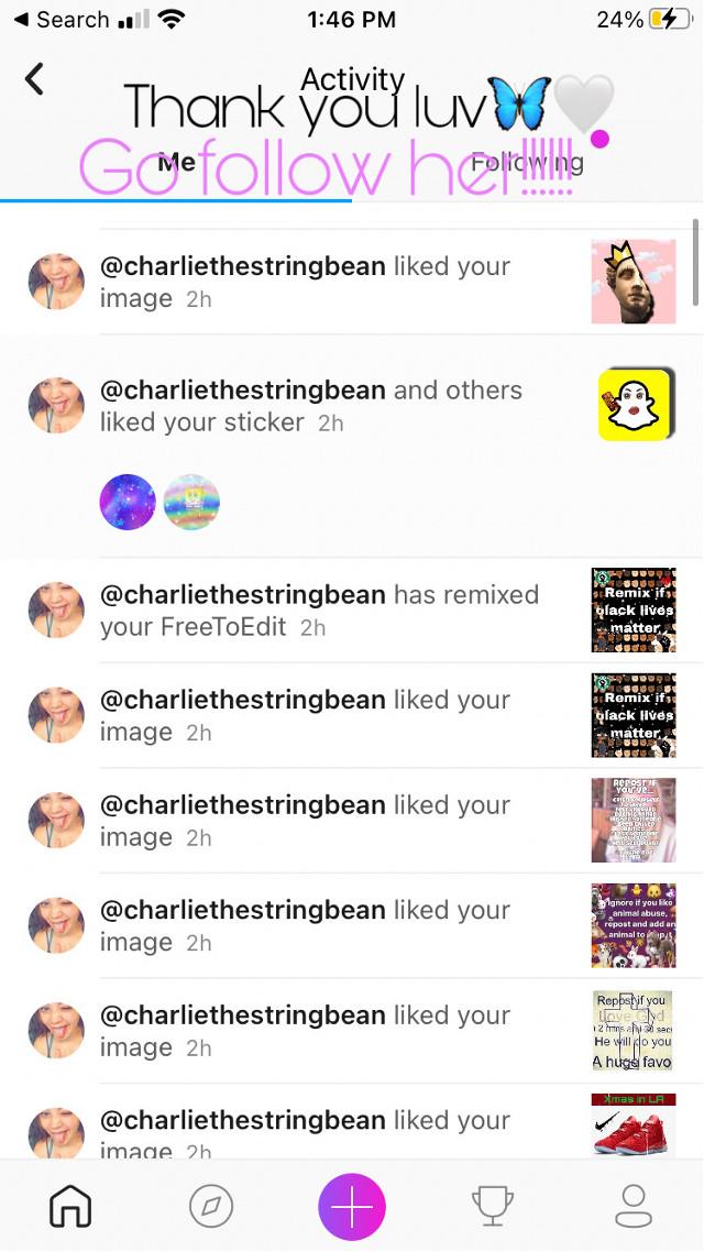 Thank you for the like spam🥰 @charliethestringbean  #gofollowher #thankyou