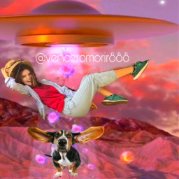 ufo girl dog pet ircthebeautyinhaze thebeautyinhaze freetoedit
