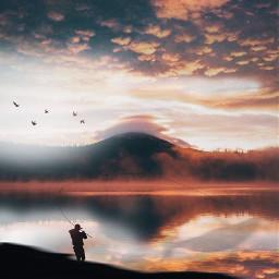picsart freetoedit remixit sunset sunrise sun clouds glow sky stars night moody dark light color background view png silhouette travel fishing lake deer waterfall hike
