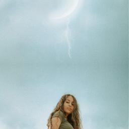 girl woman moon moonlight thunder interesting art edit newedit myedit sky bluesky blue freetoedit