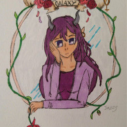 bringbackremixchat saveremixchat stopforcingkidstoremix drawing art drawingofayounglady drawingofagirl demongirl demon cutedemongirl cutedemon demondrawing purple