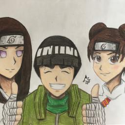 team3 neji rocklee tenten nejihyuga naruto shippuden narutoshippuden drawing art sketch traditionalart