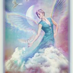 angel fantasy doves sky clouds moon blurtool brushes rainbowbrush galaxybrush freetoedit