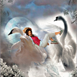 beautiful funny cute lake swan sky clouds moon girl imagination fantasy surreal freetoedit ircthebeautyinhaze thebeautyinhaze