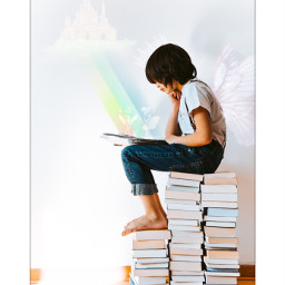 challenge kid child books sitting castle fairytale stackofbooks reading dreaming wings clouds castleintheclouds fairies storybook crown tiara rainbow imagine imagination ecbutterflywings butterflywings freetoedit