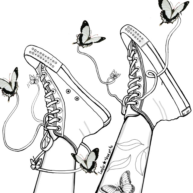 SUMMER IS HERE! ⚽🤾🤽👙👟 Kick up your #feet and have fun. Here's a #linedrawing of #sneakers #converseallstar with #butterflies keeping your feet light! 🦋😉 This cute idea was from @edwincruz09 edit he made that I found very cute. Check it out in his gallery. He has amazing edits!! 🌟😎👍   #outline #outlines #outlineart #drawing #sketch #illustration #colorme #colorpage #madewithpicsart #heypicsart #papicks #art #becreative #freetoedit ✨☺️☀️🌄 Have a beautiful day!!