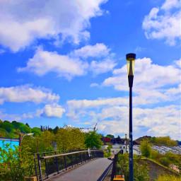 bridge city niceweather today bluesky saturation goodday happy happyday summer lake green blue aesthetic littlecity