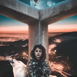freetoedit surreal vissual visual_creatorz girl wolf