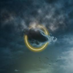 circle neon yellow sun clouds sky birds madewithpicsart editedbyme freetoedit