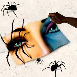 openbook open book notebook spider spiders tarantula eye eyes creepy freetoedit ircblanknotebook blanknotebook