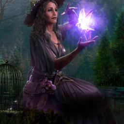 freetoedit bruja wich magia magic fantasyart noche jaula cage bird ave