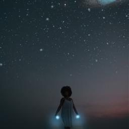 woman girl power powerful galaxy blue sky star art newedit edit myedit interesting beach ocean picsart freetoedit