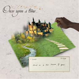 challenge book notebook story fairytale imagine imagination grass castle forest woods river brook stream path onceuponatime stars gold handwriting holdon oldtimey shadows popupbook magical ircblanknotebook blanknotebook freetoedit