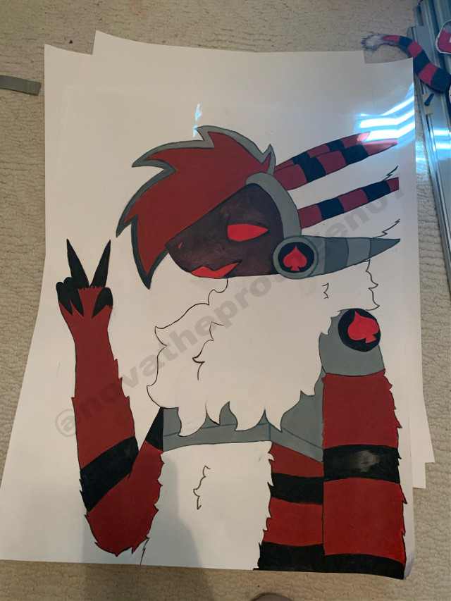 I FINISHED IT FINALLY- took way too long- anyways i made a poster of spade! The picture doesnt do it justice but the poster is big. I had a lot of fun making it!!   Totally dont have a favorite oc wdym       @akumaowu thought youd appreciate :D   #spade #furry #furries #protogen #fursona #spades #cute #oc #poster #art #artwork #artist