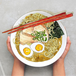 challenge food bowl plate dish noodles red chopsticks spoon soupspoon drawing doodle eggs seaweed nori meat soup broth scallion greenonions ramen stripes white simple easytoedit ircfilltheplate filltheplate freetoedit
