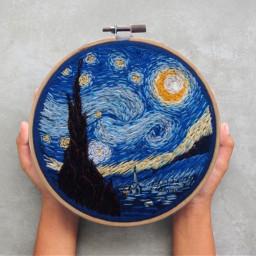 vangogh starrynight embroidery hands freetoedit ircfilltheplate filltheplate
