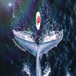 freetoedit picsart picsartchallenge challenge surreal surfsup relax whale ownedit ocean lens magicbrush sparkles ircsurfsup