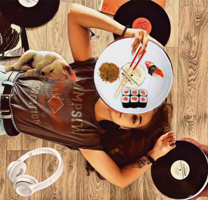 #filltheplateimageremixchallenge #chillinout #recordcollection #plate #asianfood #sushi #cutepuppy #dogsleeping #beatsheadphones #records #music ✨🎼🎧🧿🐕🍱🍣🍽✨