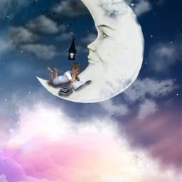 freetoedit surreal myedit araceliss madewithpicsart moon sky clouds cloud