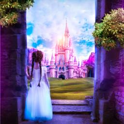 varunarts freetoedit imagination surreal fantasy manipulation dreamland girl castel disneycastle gradient picsart myedit purple blue nature unsplash