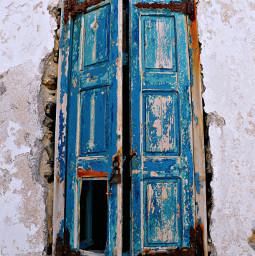 window door blue wood brown white wall lock vintage photography closeup rugged rundown interesting greece italy art travel beige beach freetoedit city village house
