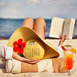 june2021calendarstickerremixchallenge beachday happyjune2021 hellosummer relaxing womanreading book drink beachtowel seagullsinflight srcjunecalendar2021 junecalendar2021 freetoedit