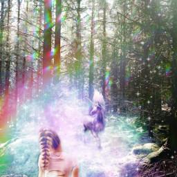 freetoedit picsart heypicsart madewithpicsart makeawesome ownedit mystical ownphotography glitter sparkles fairy unicorn mysticalforrest surreal rainbowlight