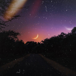 night road moon neture awesome time freetoedit