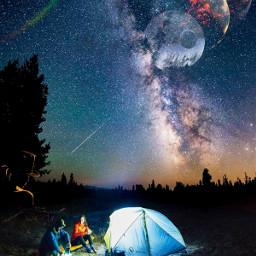 picsart picsarttool myedit editedbyme mystickers surreal surrealedit mountain sky stars planets lights woman man couple romantic tent camping rainbow freetoedit