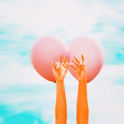 sky balloons hands freetoedit