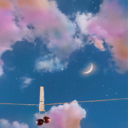 freetoedit sky heaven clouds cherry moon rainbow stars rope glitter aesthetic aestheticedit aestheticwallpaper aestheticsky aesthetictumblr gacha vintage indie tumblr colorful nature fruit fantasy background inspiration
