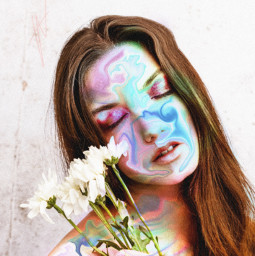 holographic girl flower colorful picsart