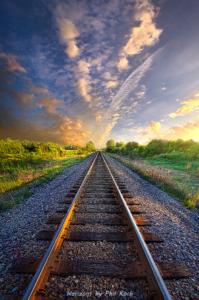 """"""" Crossover """" - Wisconsin Horizons by Phil Koch.  #freetoedit #remixit #nature #travel #rainbow #follow #summer #fanart #peace #happytaeminday #popular #popularpage #traintrack"""