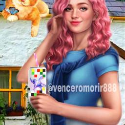 girl redhead cat drinking ircdesignthecan designthecan freetoedit