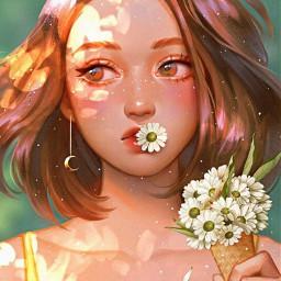 girl flower gänseblümchen blume anemi pinterest