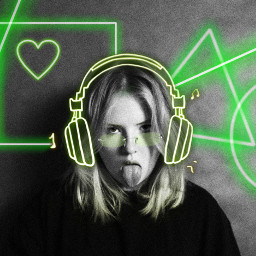 challenge girl headphones neon neongreen green greenaesthetic neongreenaesthetic blackandwhite popofcolor shapes lines heart square circle triangle glasses trendy fashion simple srcneonheadphones neonheadphones freetoedit