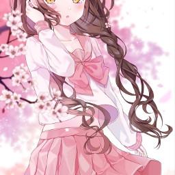 freetoedit sakura cerisier fleurdecerisier fillemanga manga jeunefille jeunefillemanga mangagirl