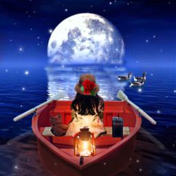 themagiclampimageremixchallenge thelittlestrebel boat oars moonlight stars littlegirl child children lantern light ducks water lake moon teddybear suitcase ircthemagiclamp freetoedit