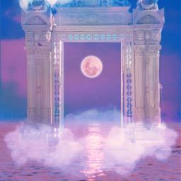 columnas surreal puerta cielo nubes mar pastel colorespastel irreal surrealitic sky door sea clouds pastelcolours moon pink blue azul rosa myedit gaby298 freetoedit